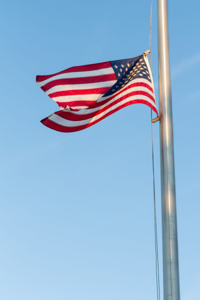 American Flag at Kenosha Harbor at Golden Hour