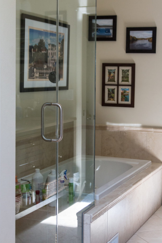 A solution with equal parts Dawn and vinegar cleans a glass shower quickly and effectively. I share my other simple glass shower cleaning tips as well.   https://www.roseclearfield.com