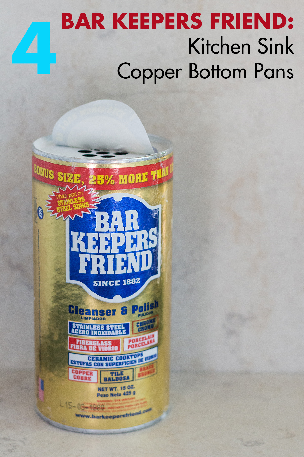 Bar Keepers Friend to Clean Sinks and Polish Copper Pans