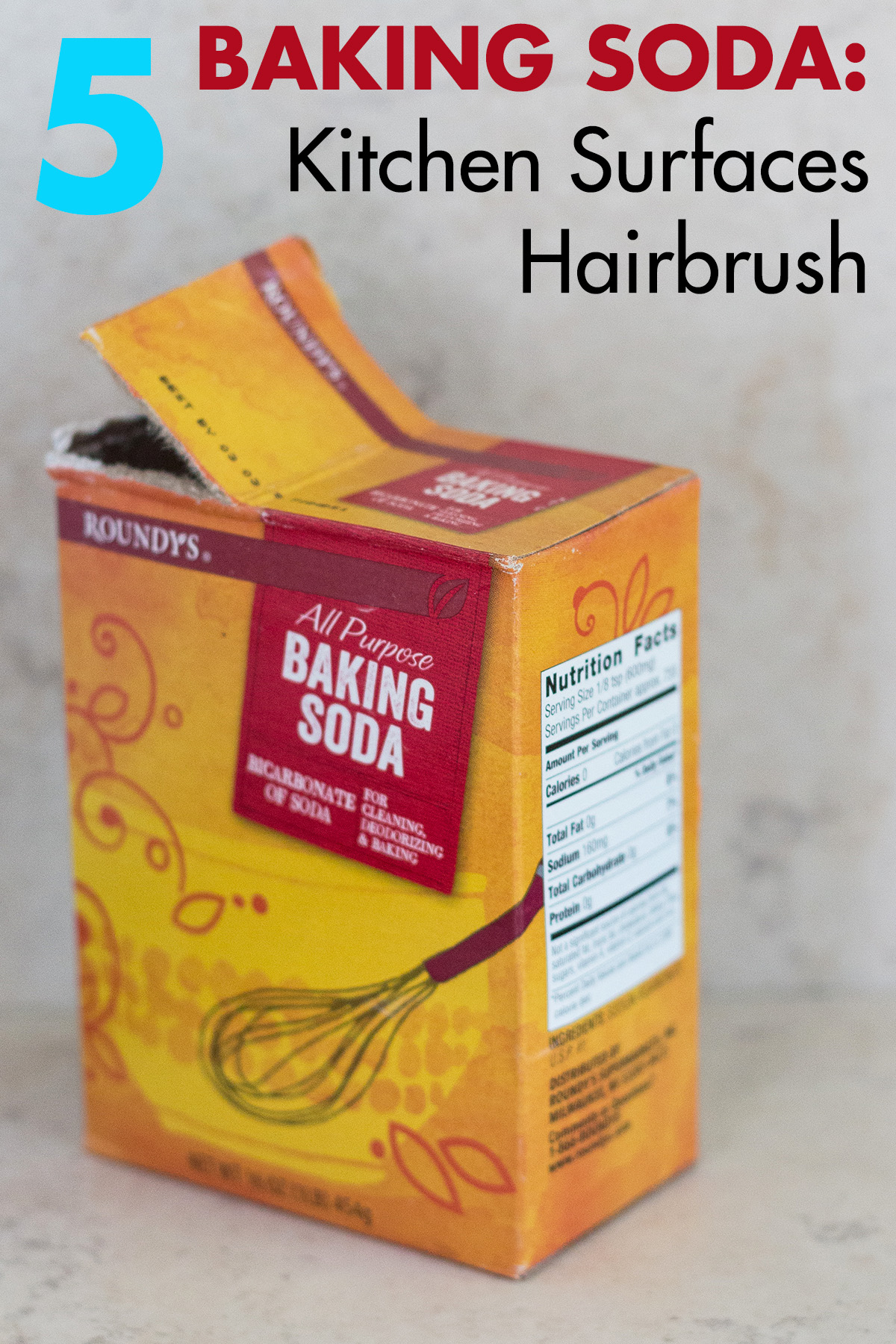 Baking Soda to Clean Kitchen Surfaces and Hairbrushes