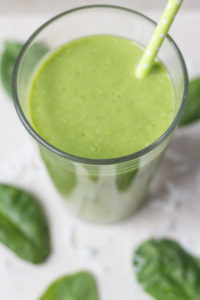 Tropical Green Smoothie with Pineapple, Mango, and Coconut