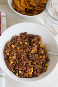 Ground Beef Chili with Corn | https://www.roseclearfield.com