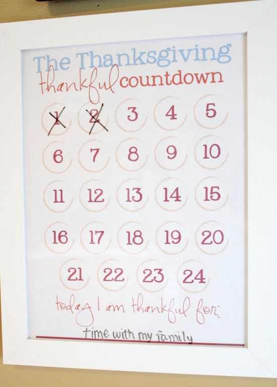 Thanksgiving Thankful Countdown Free Printable