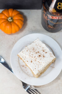 Tres leches cake with the amazing seasonal Bailey's Pumpkin Spice! | https://www.roseclearfield.com