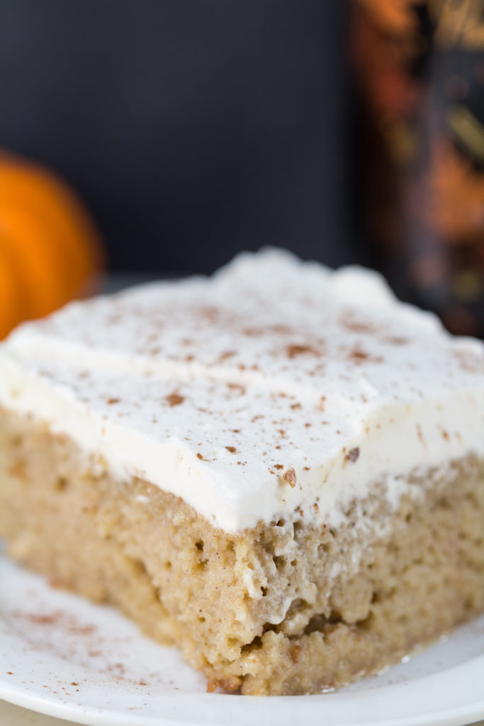 Tres leches cake with the seasonal Bailey's Pumpkin Spice. Perfect, easy indulgent dessert for a special fall occasion! | https://www.roseclearfield.com