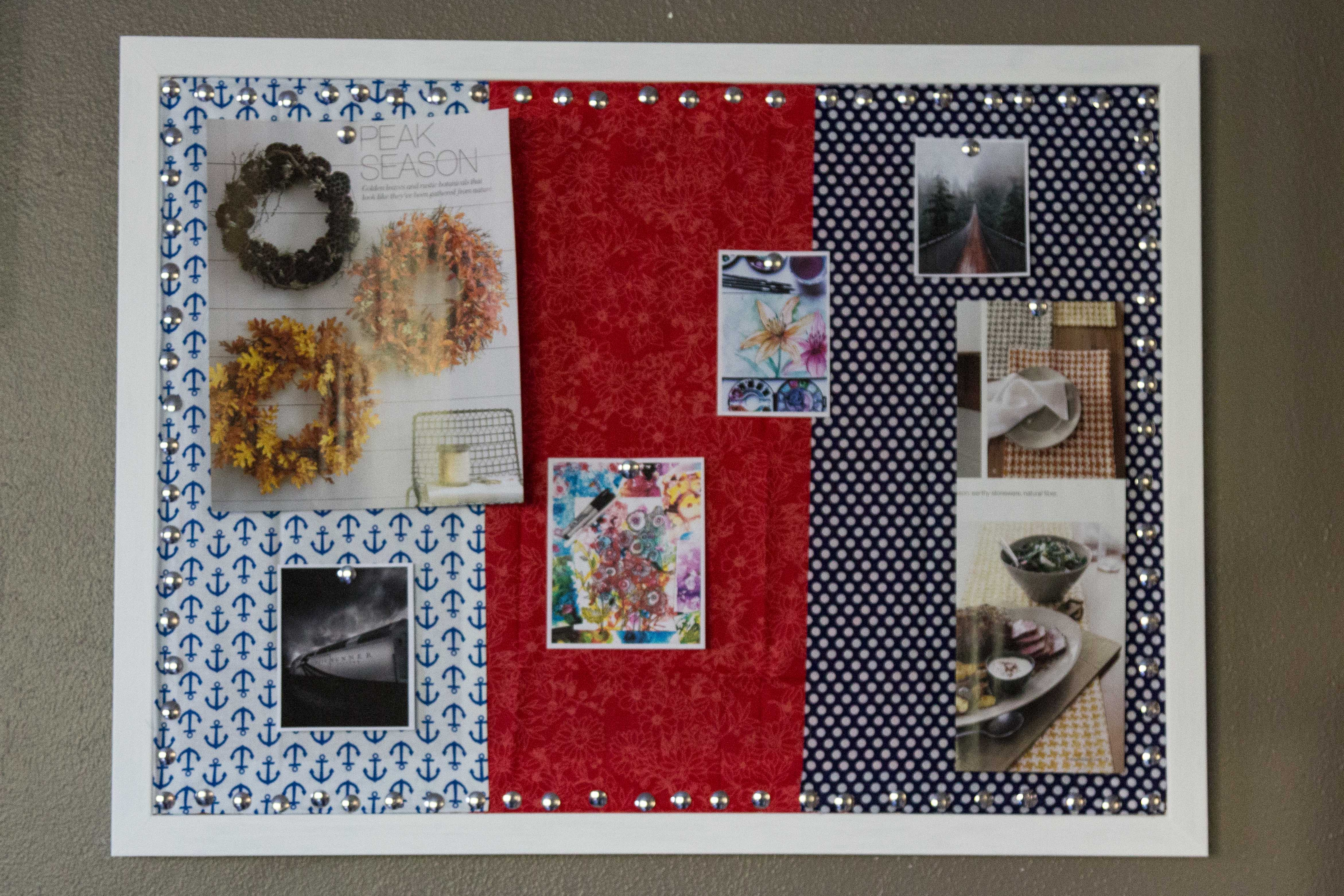 Diy stylish fabric covered inspiration cork board rose for Diy fabric bulletin board ideas