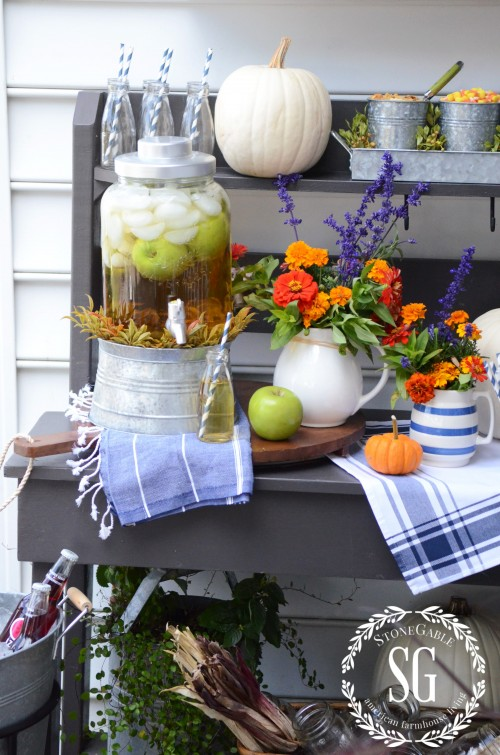 Fall Drink Bar with Golden Apple Cider Stone Gable Blog