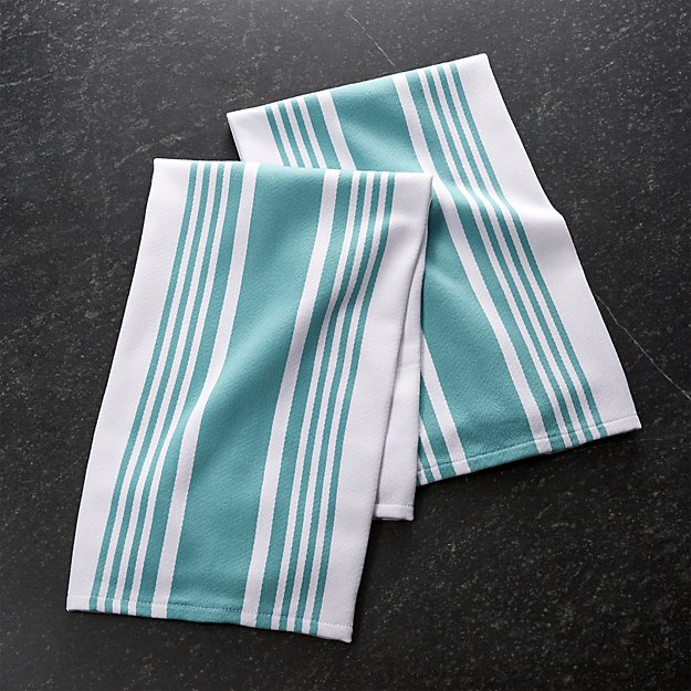 My 7 Favorite Staple Crate and Barrel Kitchen Items - Cuisine Stripe Aqua Dish Towels | https://www.roseclearfield.com