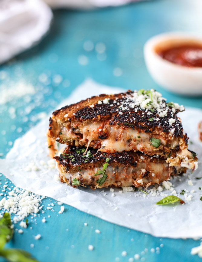 Eggplant Parmesan Grilled Cheese - howsweeteats.com | https://www.roseclearfield.com