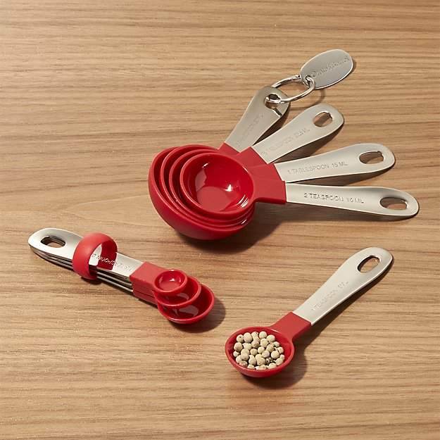 My 7 Favorite Staple Crate and Barrel Kitchen Items - Stainless Steel and Nylon Measuring Spoons | https://www.roseclearfield.com