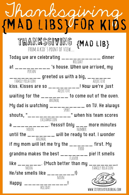 Thanksgiving Mad Libs for Kids Sister's Suitcase
