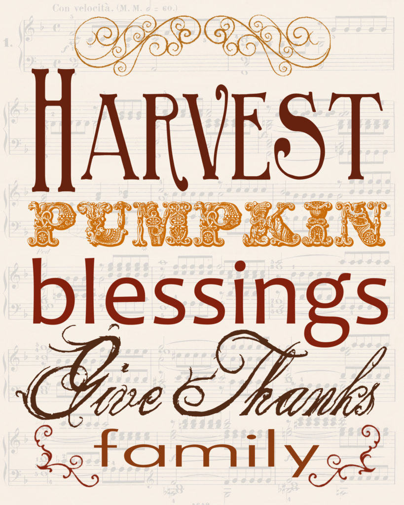 Harvest Pumpkin Blessings Give Thanks Family Free Thanksgiving Printable