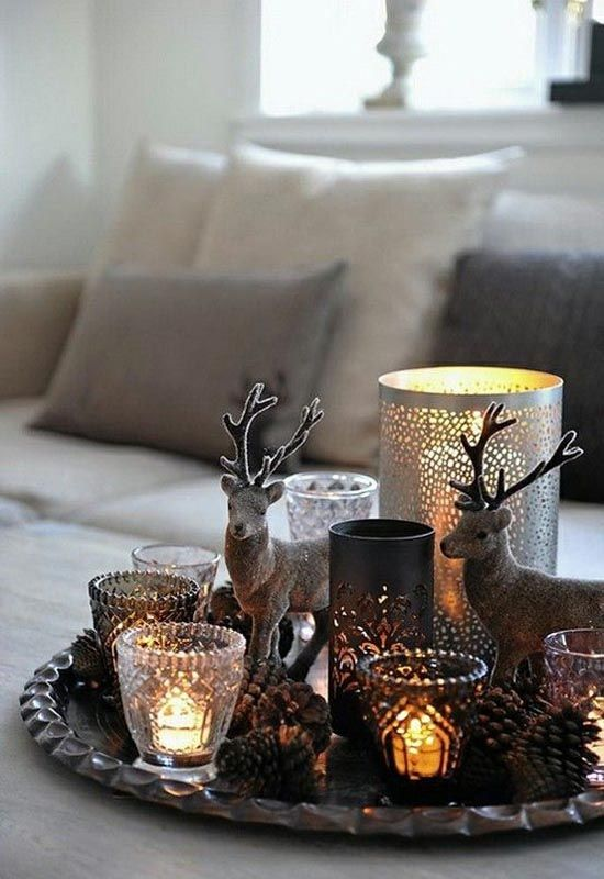 Christmas Decoration Inspiration - candles and deer display.