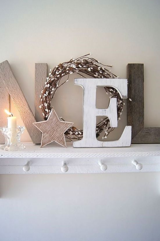 "Christmas Decoration Inspiration - Natural ""Noel"" on the mantel. Simple and classic."