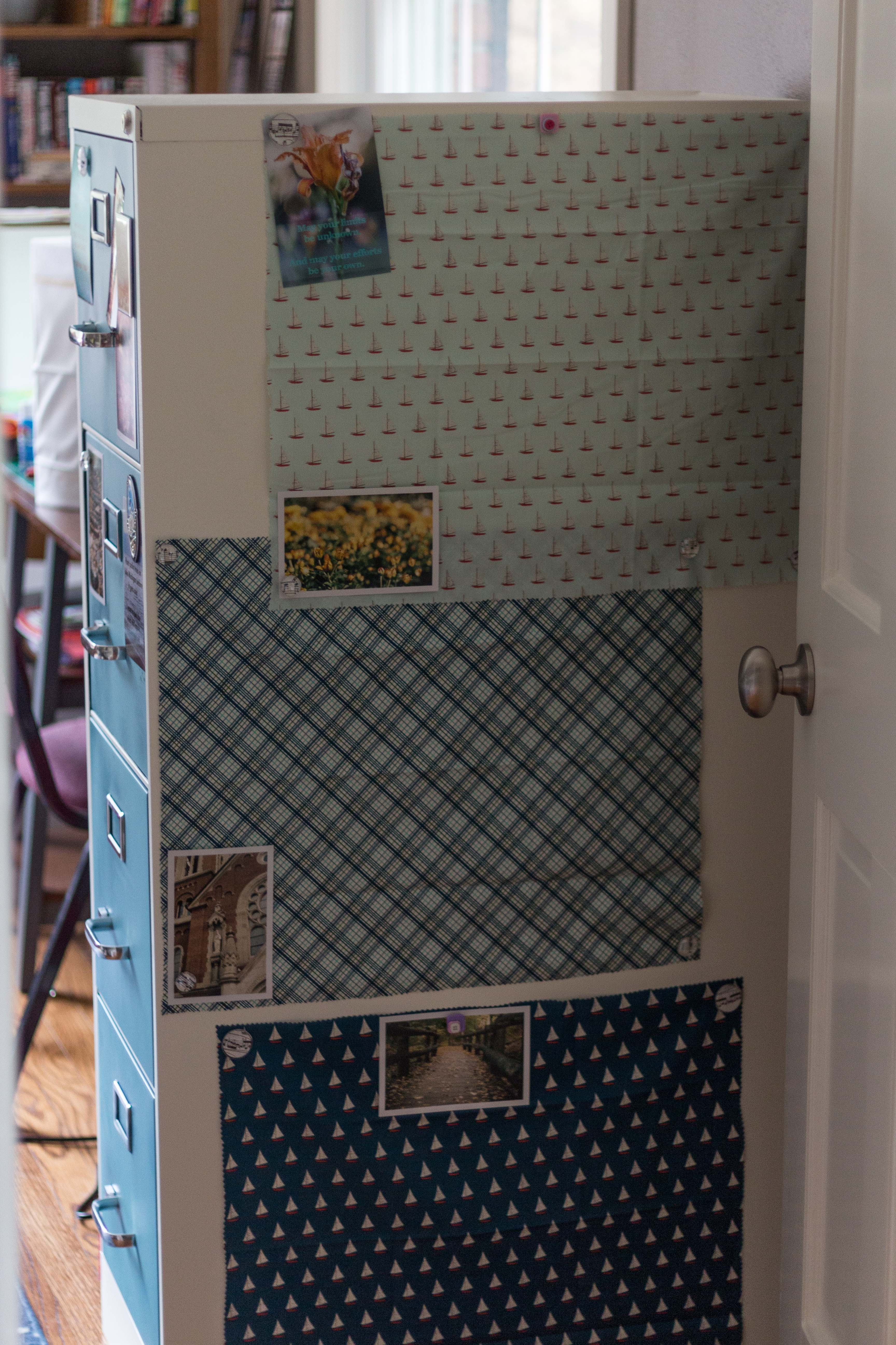 Metal File Cabinet Painting Makeover! I decorated my file cabinet with fabric panels, magnets, and photos. Click through to learn more about how to paint and decorate your own file cabinet. | https://www.roseclearfield.com