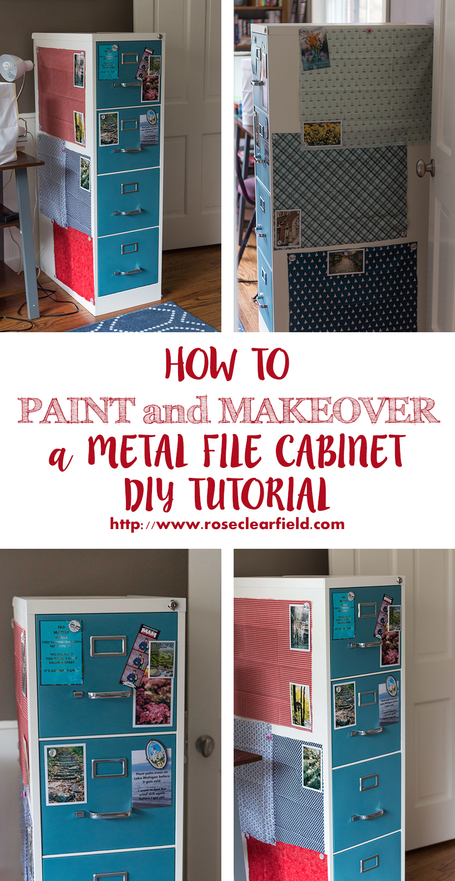How to Paint and Makeover a Metal File Cabinet. A DIY tutorial from Rose Clearfield. | https://www.roseclearfield.com