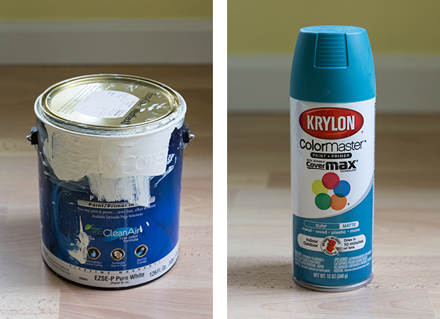 How to Paint and Makeover a Metal File Cabinet - True Value's Baby Chick (satin) and Krylon's Surf (matte) | https://www.roseclearfield.com