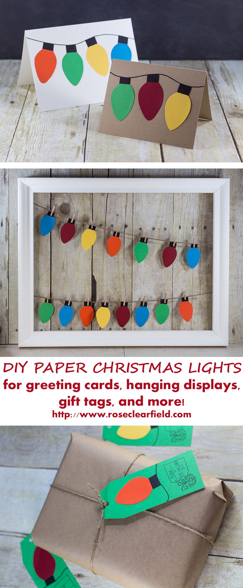 DIY paper Christmas lights holiday craft ideas. Make greeting cards, garlands, gift tags, and much more! | https://www.roseclearfield.com
