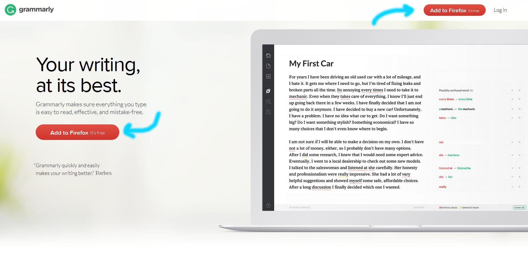 Grammarly offers a free Firefox plugin. | https://www.roseclearfield.com