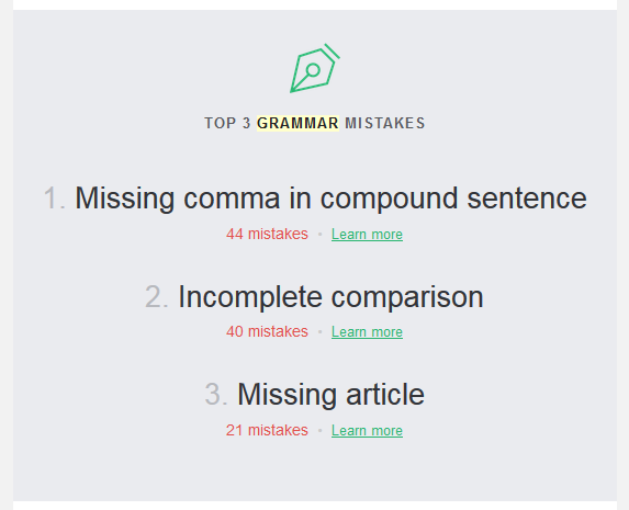 The weekly Grammarly report includes a short summary of your top three mistakes from the past week.   https://www.roseclearfield.com