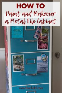 How to paint and makeover a metal file cabinet. Transform a boring ugly black metal file cabinet into a beautiful home office or classroom display piece! #DIY #filecabinet #furnituremakeover #homeproject