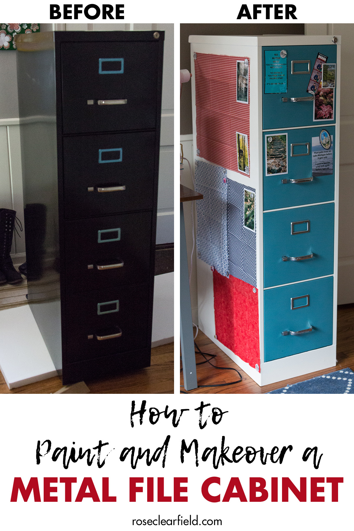 How to Paint and Makeover a Metal File Cabinet Before and After