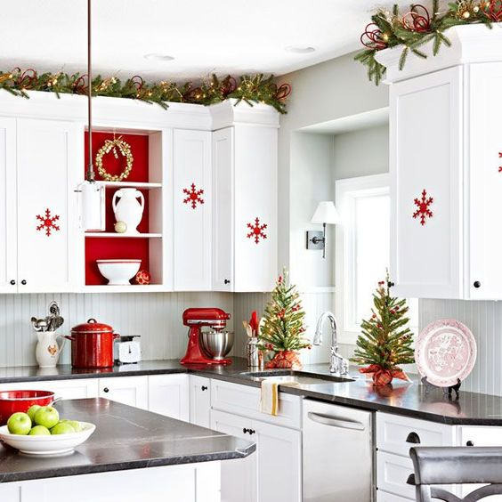 Christmas Decoration Inspiration - cherry, white kitchen decked out for the holidays.