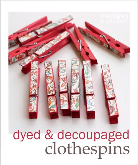 Last-Minute Homemade Christmas Gift Ideas - Dyed and decoupaged clothespins. | https://www.roseclearfield.com