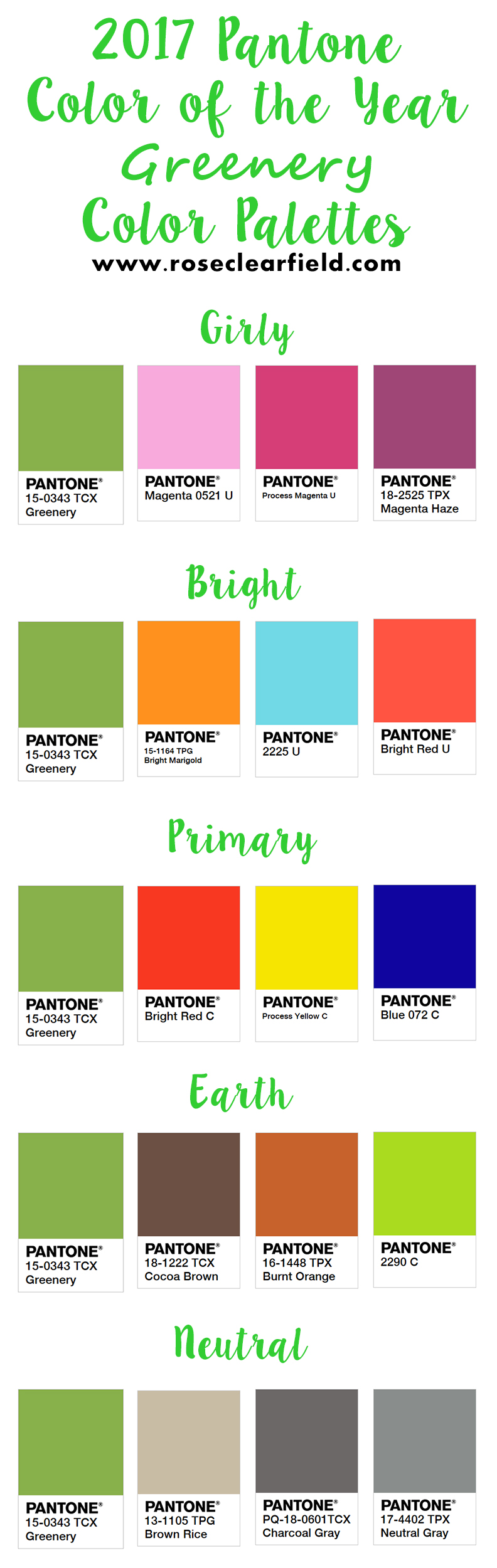 2017 Pantone Color of the Year - Color Palettes | https://www.roseclearfield.com