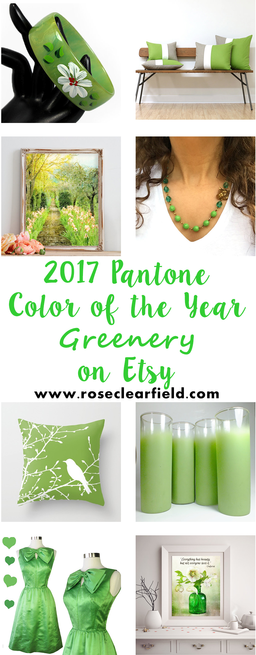 2017 Pantone Color of the Year Greenery on Etsy | https://www.roseclearfield.com