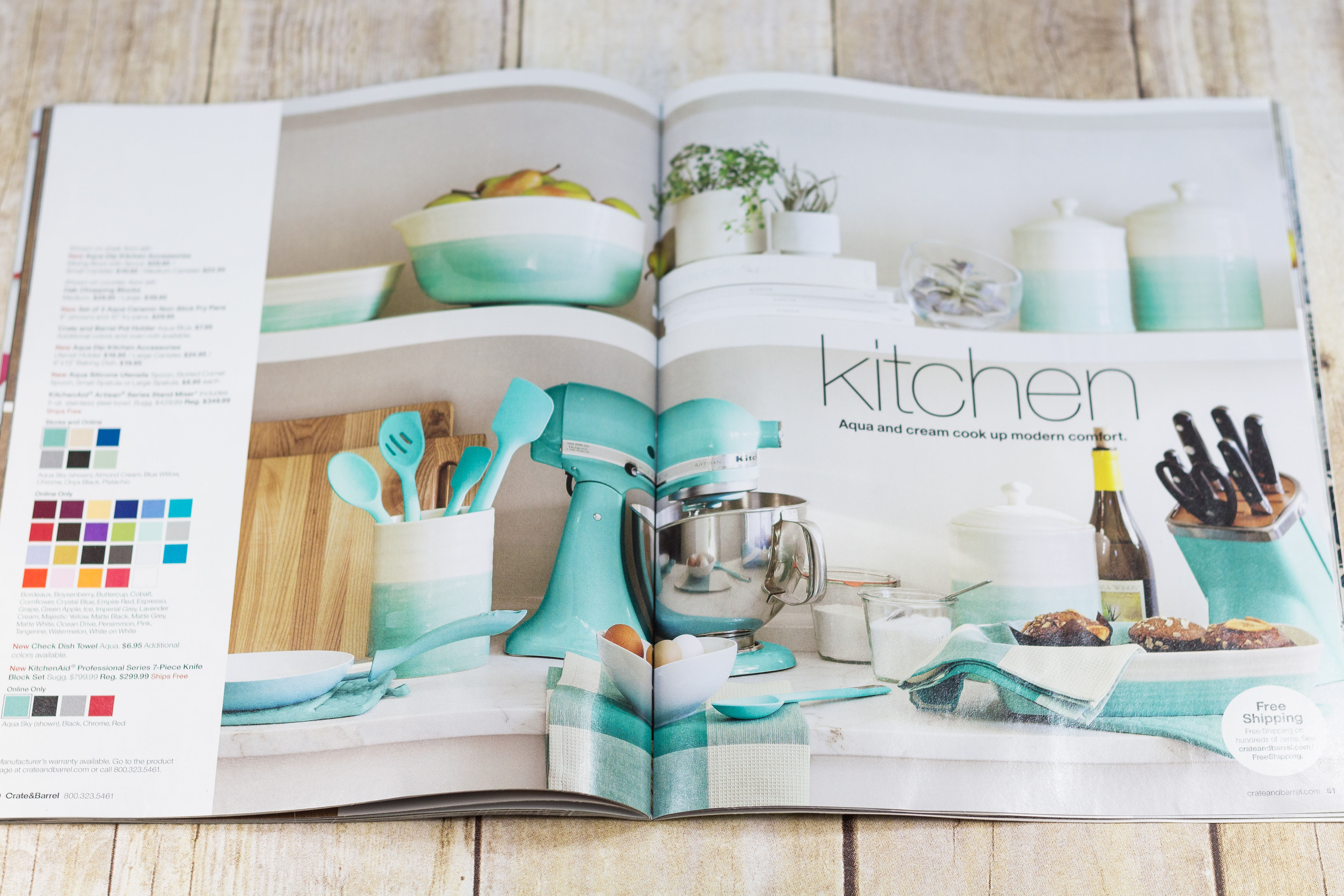Crate and Barrel Catalog Aqua Kitchen Spread - Pantone Spring 2017 Island Paradise | https://www.roseclearfield.com
