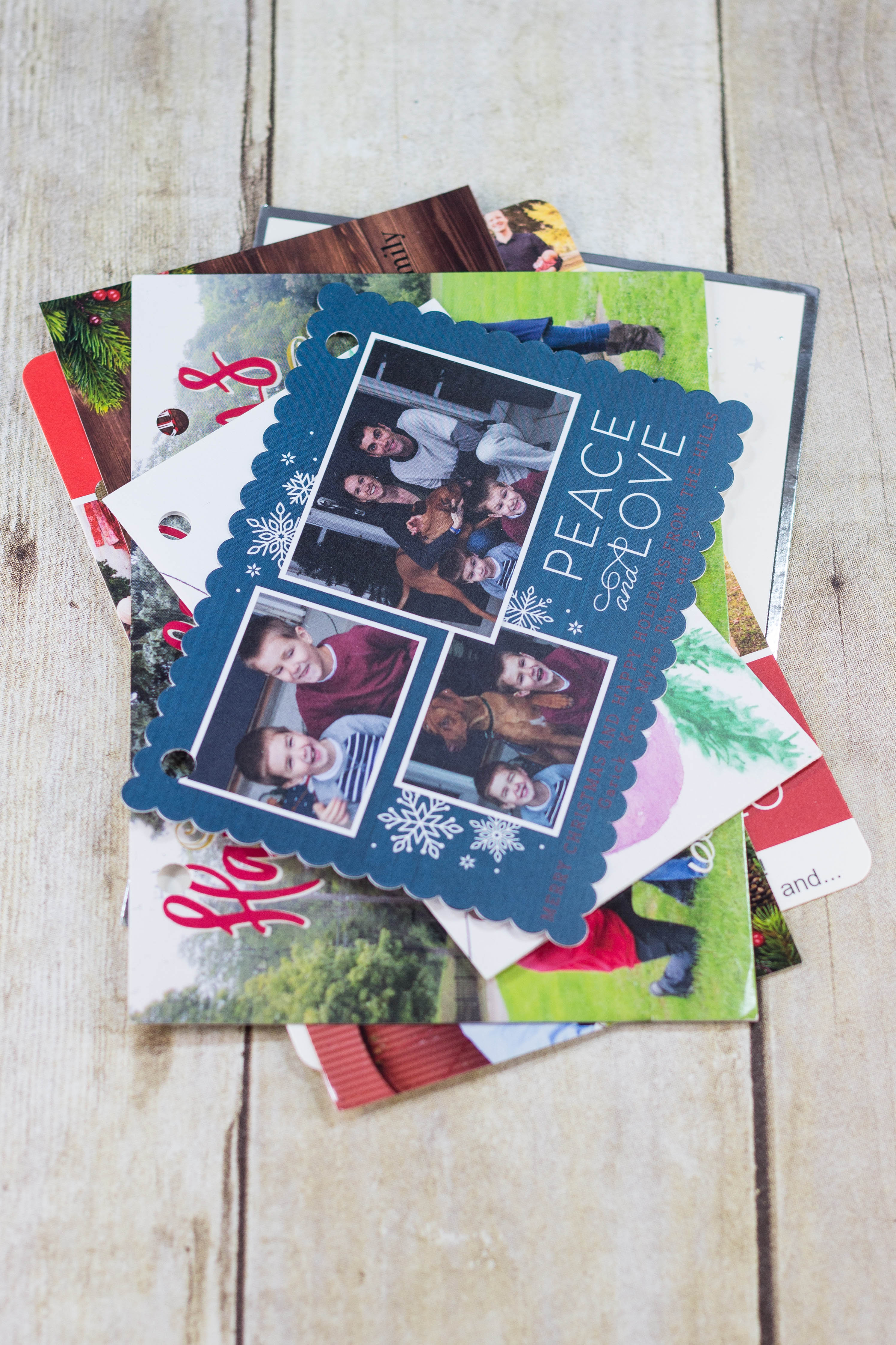 DIY Upcycled Christmas Card Books - Punched Christmas cards. | http://www.roseclearfield