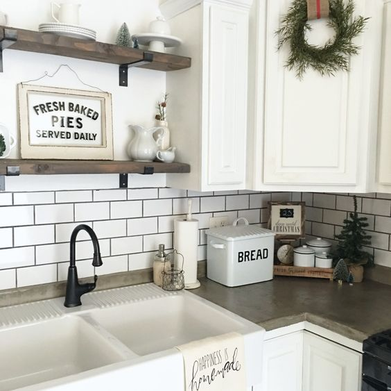 Farmhouse Kitchen Decorated for Winter