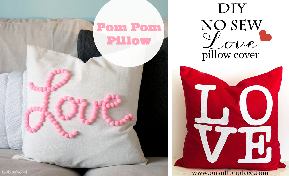 Last-Minute DIY Valentine's Day Decor Ideas - No-Sew Pillow Covers | https://www.roseclearfield.com