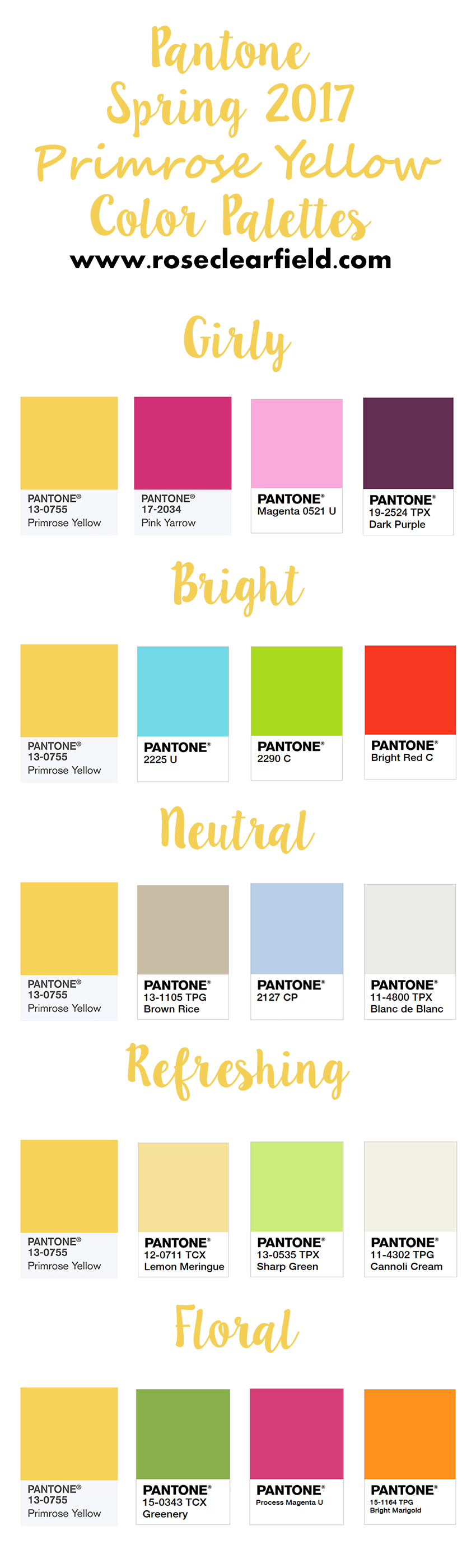 Pantone Spring 2017 Primrose Yellow Color Palettes | https://www.roseclearfield.com