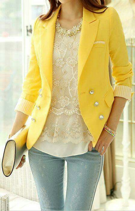 Pantone Spring 2017 Primrose Yellow Pinterest - Fitted Jacket | https://www.roseclearfield.com