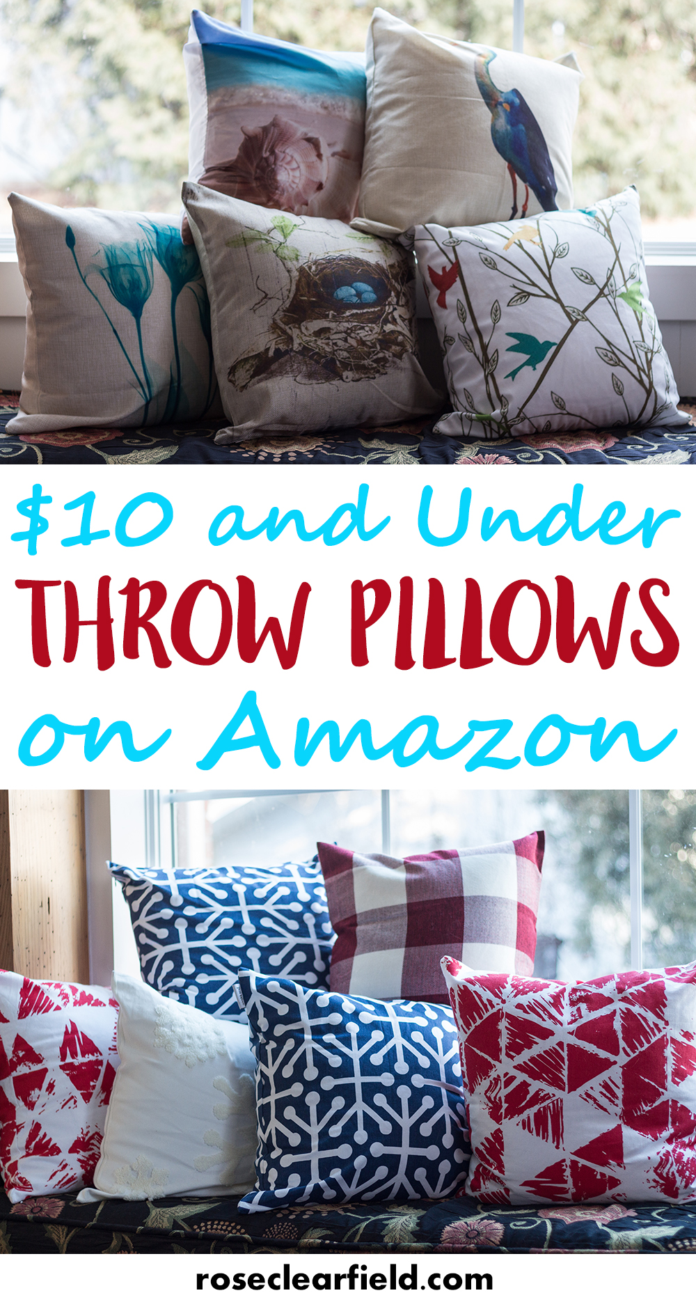 $10 and Under Throw Pillows on Amazon. Decorate your home beautifully without breaking the bank! | https://www.roseclearfield.com