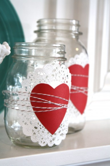 Valentine's Day Doilie Heart Baker's Twine Mason Jars via The Pleated Poppy | https://www.roseclearfield.com