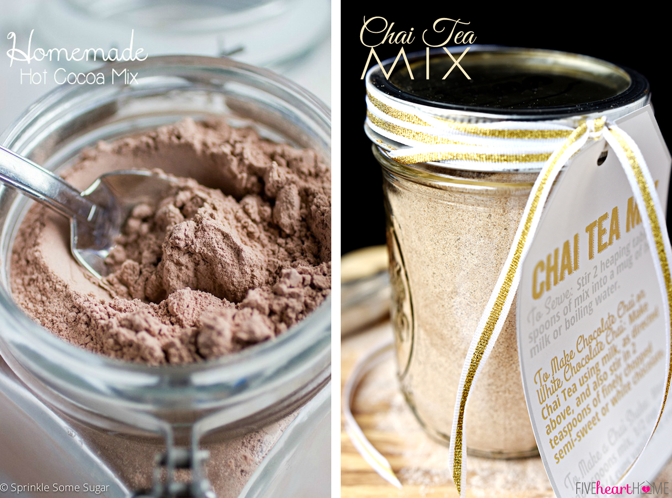 Last Minute DIY Valentine's Day Gift Ideas - Hot Chocolate and Chai Tea Mixes via Sprinkle Some Sugar and Five Heart Home | https://www.roseclearfield.com