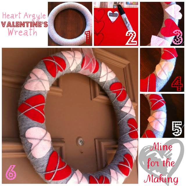 Heart Argyle Valentine's Wreath via Mine for the Making | https://www.roseclearfield.com