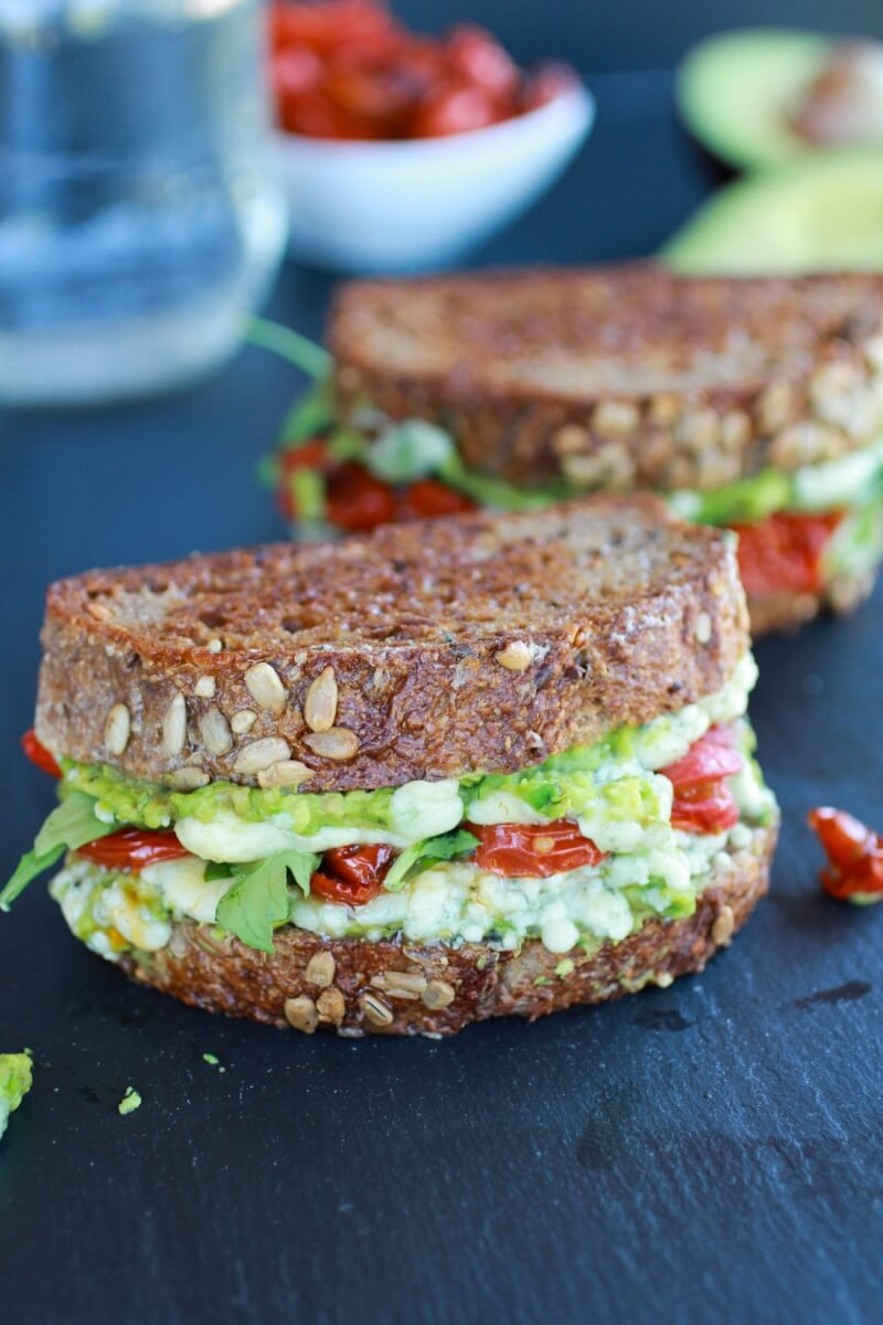 Blue Cheese, Smashed Avocado, and Roasted Tomato Grilled Cheese via Half Baked Harvest | https://www.roseclearfield.com