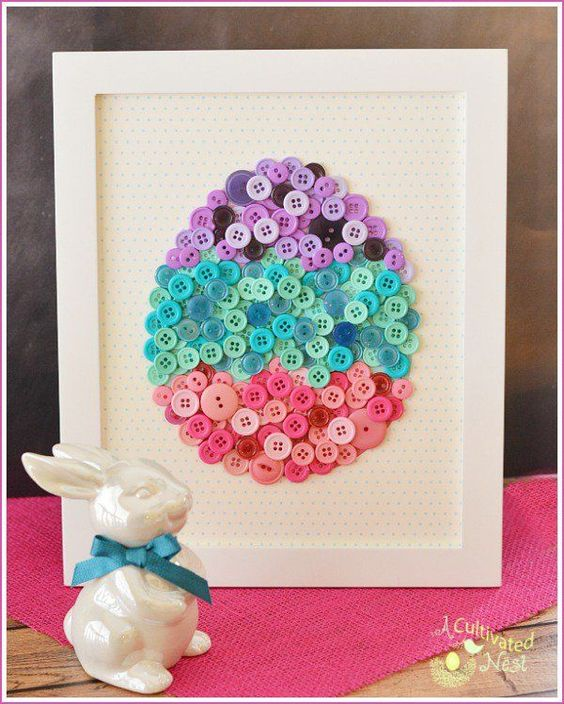DIY Easy Easter Decor Ideas - Button Easter Egg via A Cultivated Nest | https://www.roseclearfield.com