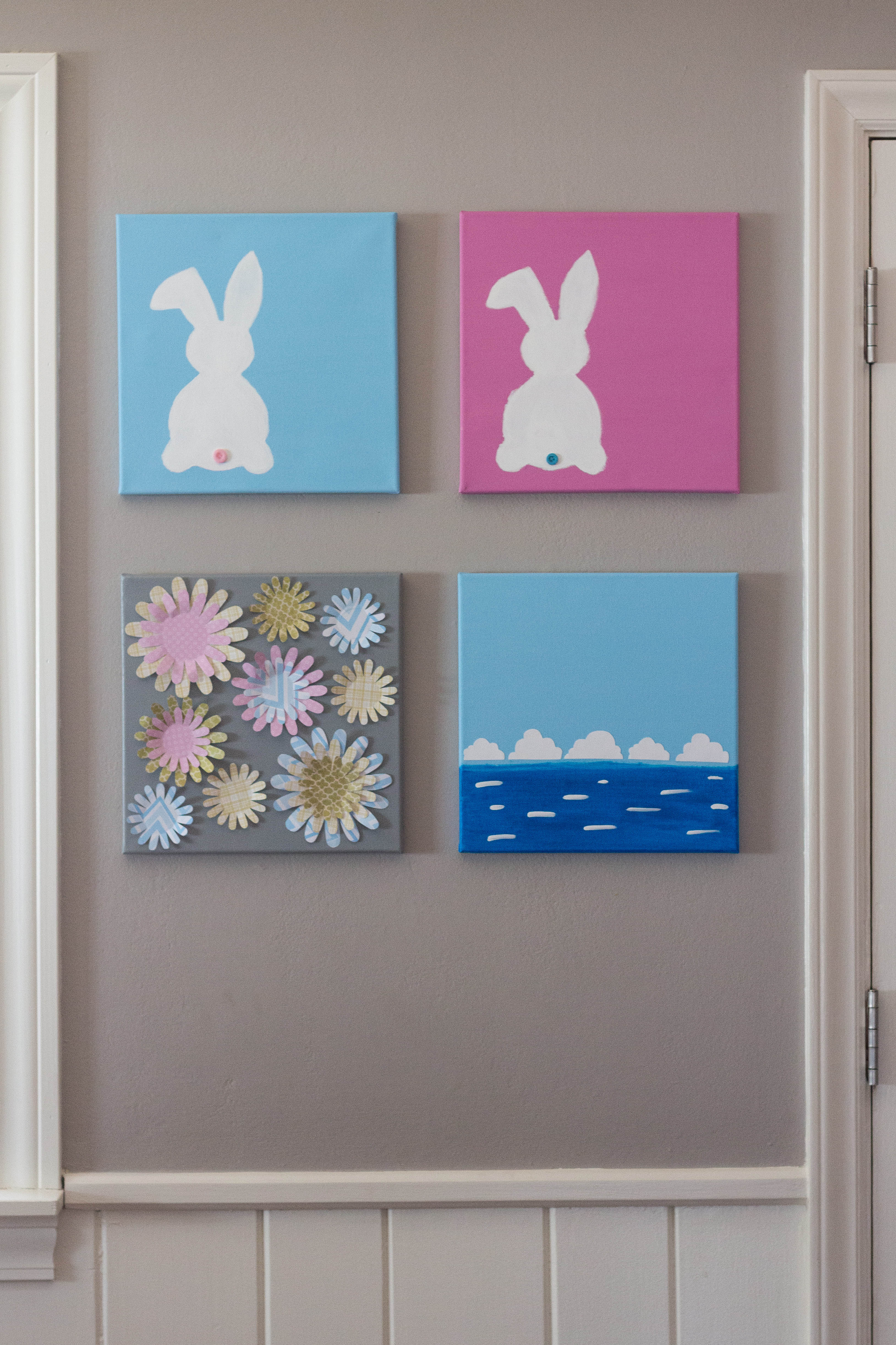 DIY Easter Bunny Wall Art Entryway Display | https://www.roseclearfield.com