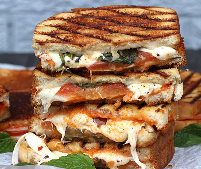 Grilled Cheese Margherita Sandwich Cook with Kushi Crop