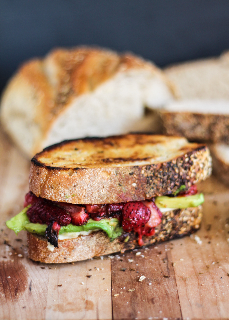 Roasted Strawberry Avocado and Mozzarella Grilled Cheese via Ambitious Kitchen | https://www.roseclearfield.com