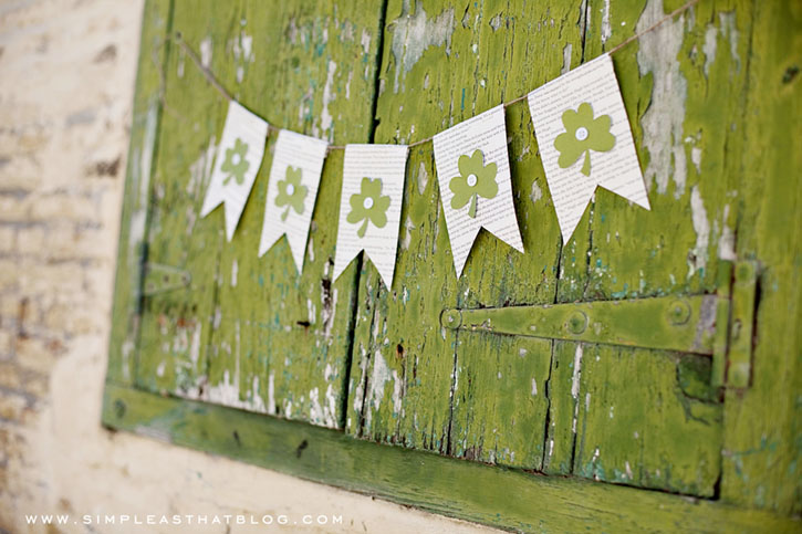 Easy DIY St. Patrick's Day Decor Ideas - St. Patrick's Day Book Page Shamrock Bunting via Simple as That | https://www.roseclearfield.com