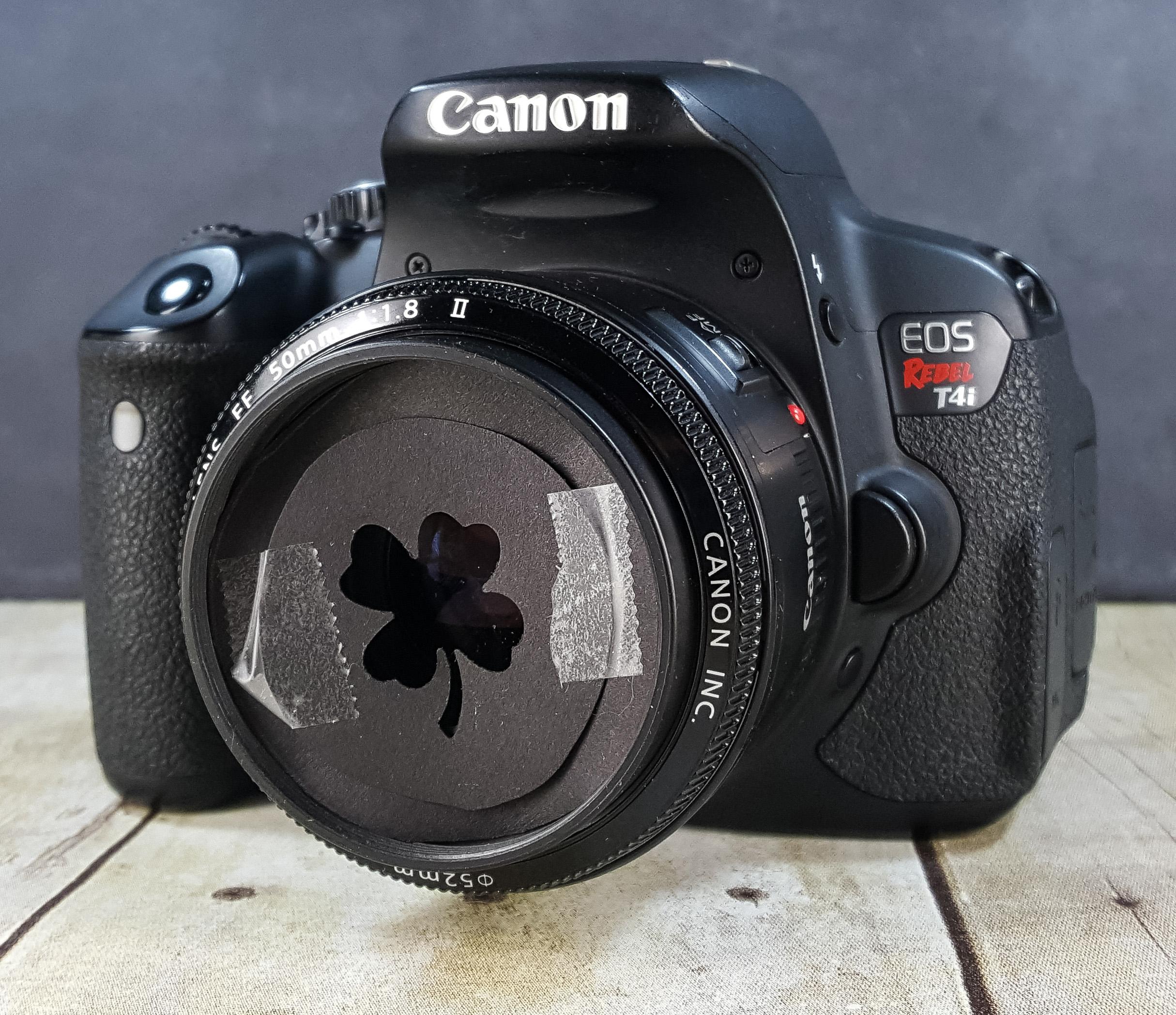 DIY Shamrock Shaped Bokeh Filter on 50mm DSLR Camera Lens | https://www.roseclearfield.com