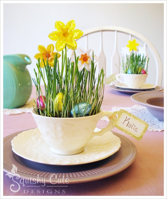 DIY Easy Easter Decor Ideas - Teacup Spring Craft via Squishy Cute Designs | https://www.roseclearfield.com