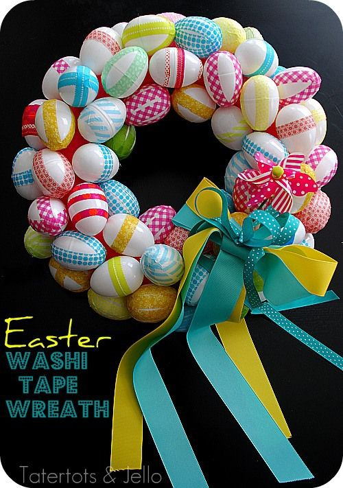 DIY Easy Easter Decor Ideas - Washi Tape Easter Egg Wreath via Tater Tots and Jello | https://www.roseclearfield.com