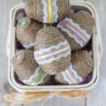 DIY Twine Wrapped Plastic Easter Eggs with Lace and Ribbon
